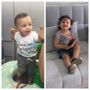 a picture of a smiling baby on the left, on the right is the same baby one year later